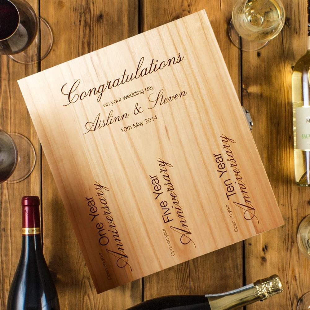 3 Bottle Engraved Wedding Wine Box Peach Hampers