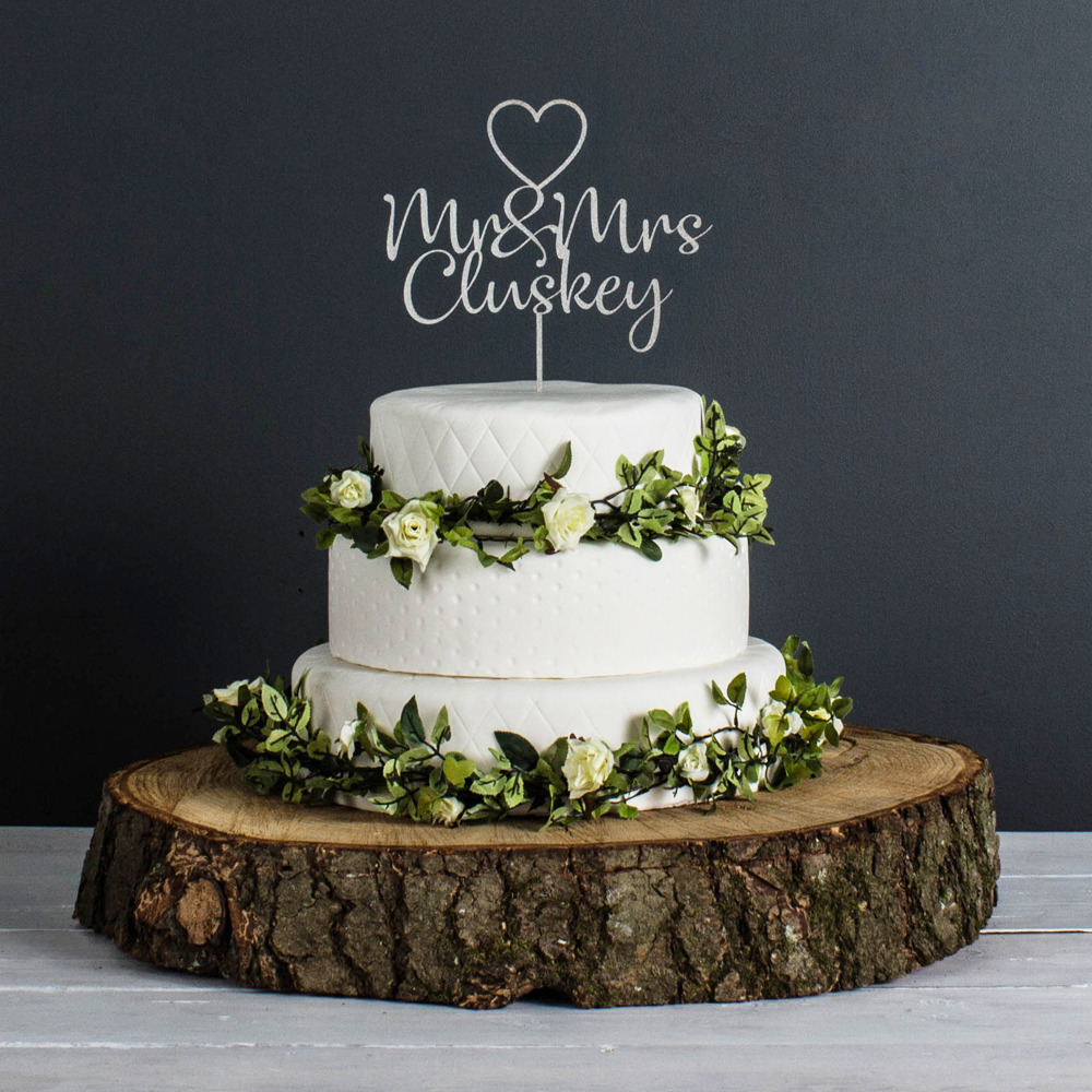 Personalised Wedding Cake Topper in metalic Champagne at ...