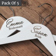 5 PACK - Personalised White Wedding Coat Hangers