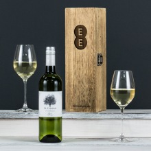 Award Winning White Wine in an Engraved Wine Box