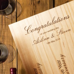Three Bottle Engraved Wedding Wine Box