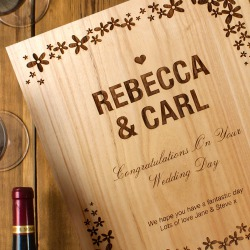 Wedding Flower Design Three Bottle Engraved Wine Box