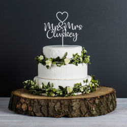 Personalised Wedding Cake Topper (White)