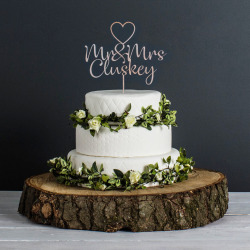 Personalised Wedding Cake Topper (Metalic Rose Gold)