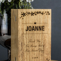 Wedding Engraved Flower Two Bottle Wine Box