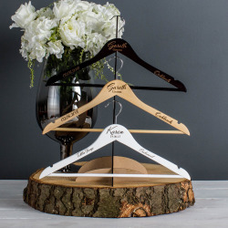 White Engraved Wedding Coat Hangers