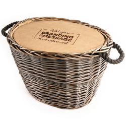The Golden Log Basket Engarved Hamper - Alcohol Free