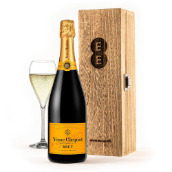 Veuve Clicquot in an Engraved Wine Box