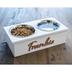 Elevated Two Bowl Pet Feeding Station - CREAM | EXTRA SMALL