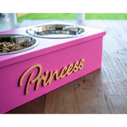 Elevated Two Bowl Pet Feeding Station - PINK | EXTRA SMALL
