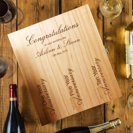 Three Bottle Engraved Wedding Wine Box