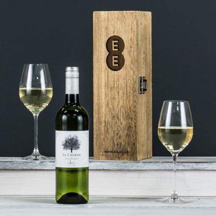 Award Winning White Wine in an Engraved Wine Box