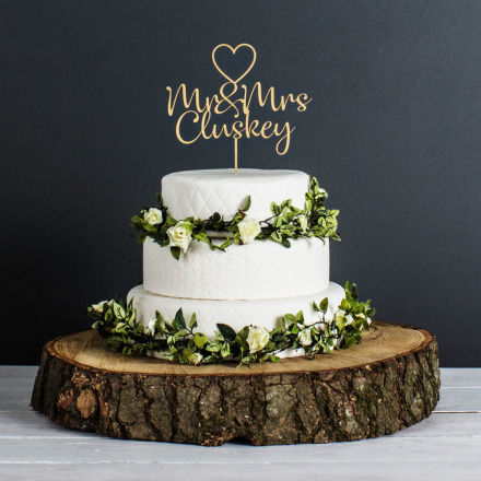 Personalised Wedding Cake Topper (Metalic Gold)