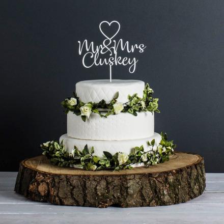 Personalised Wedding Cake Topper (White)