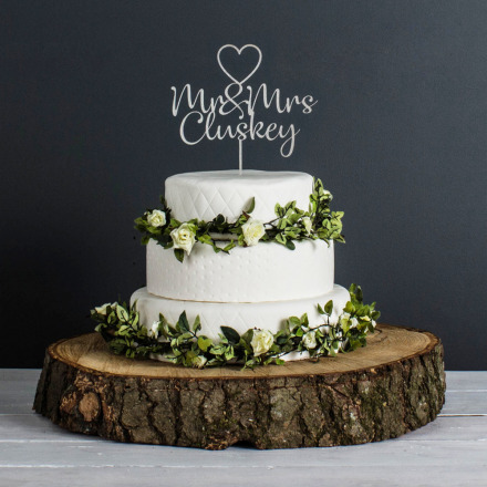 Personalised Wedding Cake Topper (Metalic Champagne)