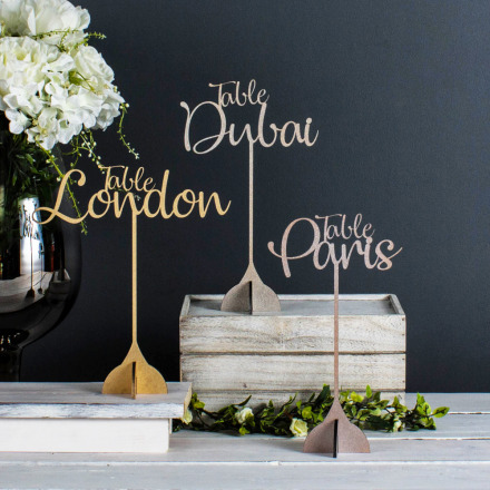 Personalised Wedding Table Name or Number with Stand (Colour Choice)