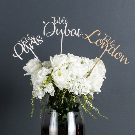 Personalised Wedding Table Name or Number (Colour Choice)