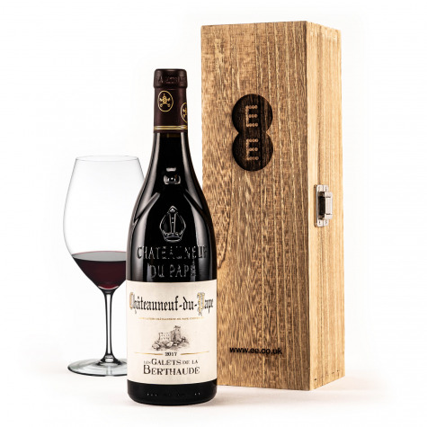 Chateauneuf-Du-Pape in an Engraved Wine Box
