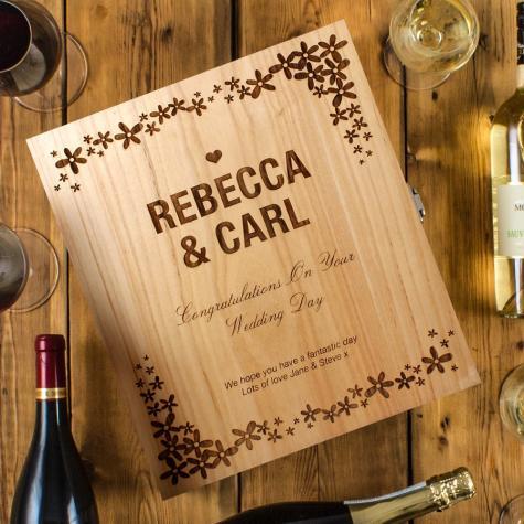 Wedding Flower Design Three Bottle Engraved Wine Box