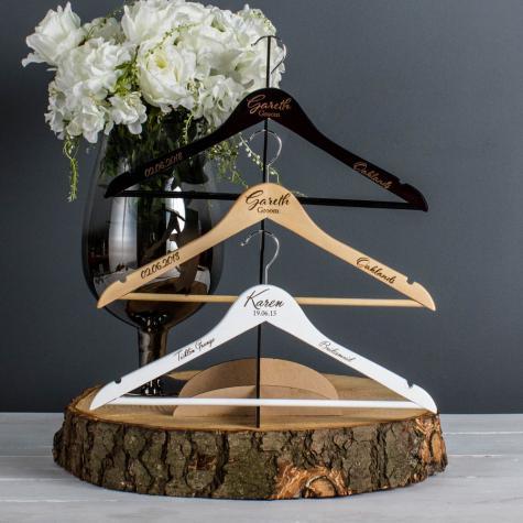 White Engraved Wedding Coat Hangers
