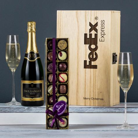 The Champagne & Chocolate Engraved Wine Gift