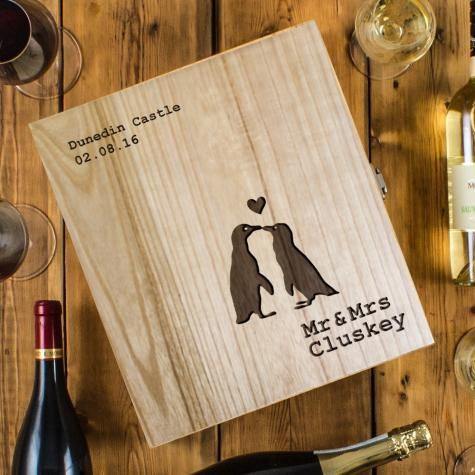 Penguin Love Three Bottle Engraved Wedding Wine Box