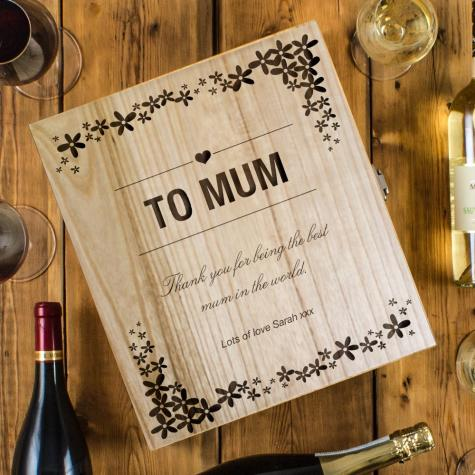 Mother's Day Engraved Three Bottle To Mum Wine Box