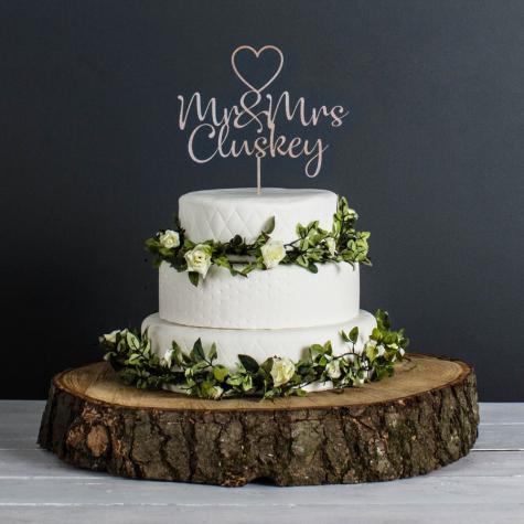 Personalised Wedding Cake Topper (Metalic Rose Gold)