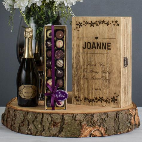 Wedding Engraved Flower Two Bottle Wine With Prosecco & Chocolates