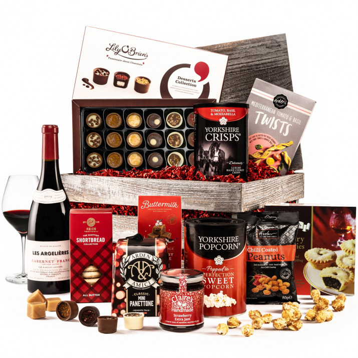 The Festive Christmas Crate with Red Wine